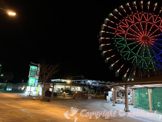 「道の駅富士川楽座」(静岡県富士市)大観覧車のイルミネーションとSA方面からの景色