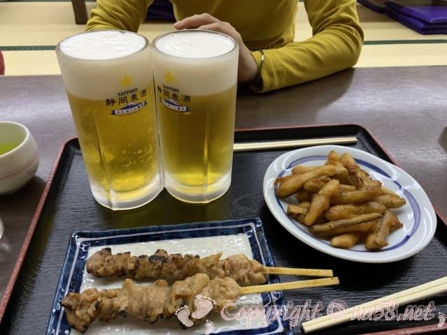 川根温泉、ふれあいの泉、(静岡県島田市)お食事処「萌」で生ビールとおつまみ二品