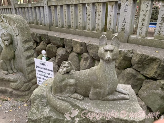 豊川稲荷(愛知県豊川市)きつね塚の狐の石像
