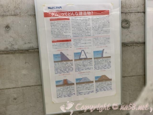 小里川ダム(岐阜県恵那市)の見学、一階の通路の展示、ダムの構造