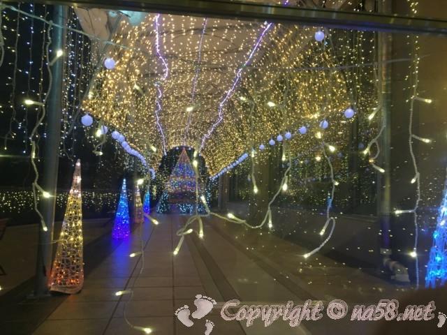 「湯の華温泉」(湯の華アイランド)岐阜県可児市、レストランへの通路のイルミネーション
