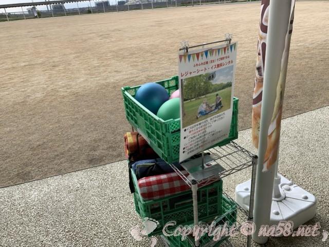 道の駅パレットピアおおの(岐阜県大野町)の屋外広場で使える貸し出しボール、シート