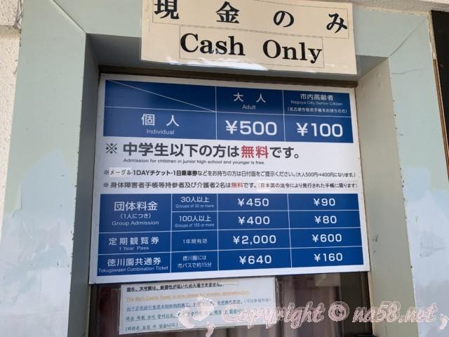 名古屋城の入場料金表