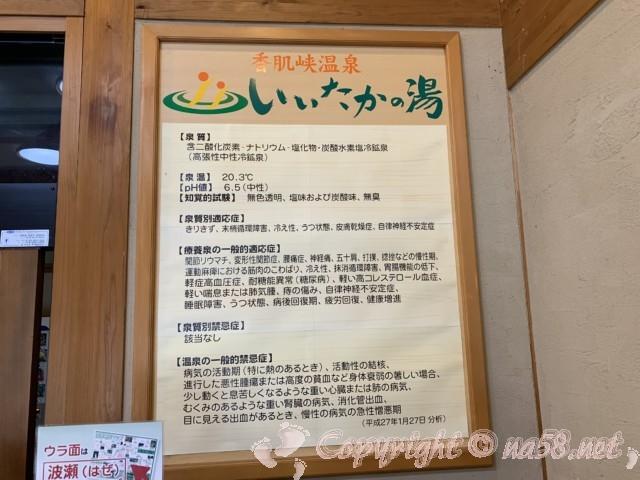 いいたかの湯(道の駅飯高、三重県松阪市)の温泉の泉質表示