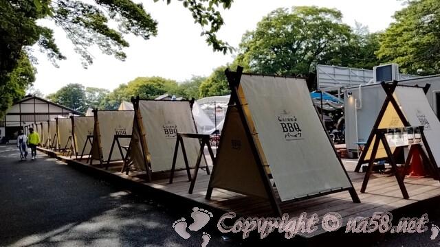 名古屋城BBQパーク ミニテントが並ぶ