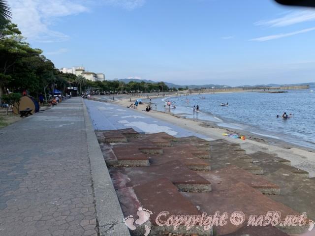 吉良ワイキキビーチ・恵比寿海水浴場(愛知県西尾市)の海岸、海水浴をする人達