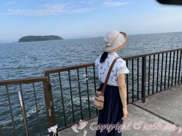 吉良ワイキキビーチ(恵比寿海水浴場)愛知県西尾市吉良町、釣り場からは向こうに島