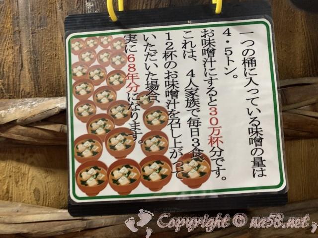味噌蔵見学、はと屋みそパーク(愛知県西尾市)味噌蔵で木桶一つで4.5トン