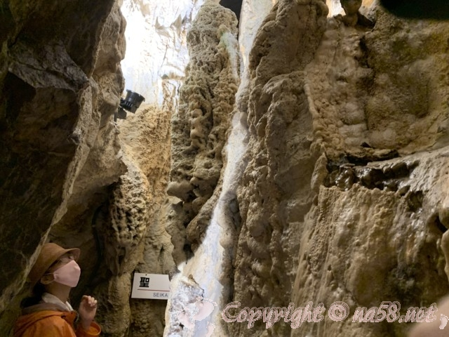 「飛騨大鍾乳洞」岐阜県高山市・鍾乳洞の中、より狭まった洞窟の中