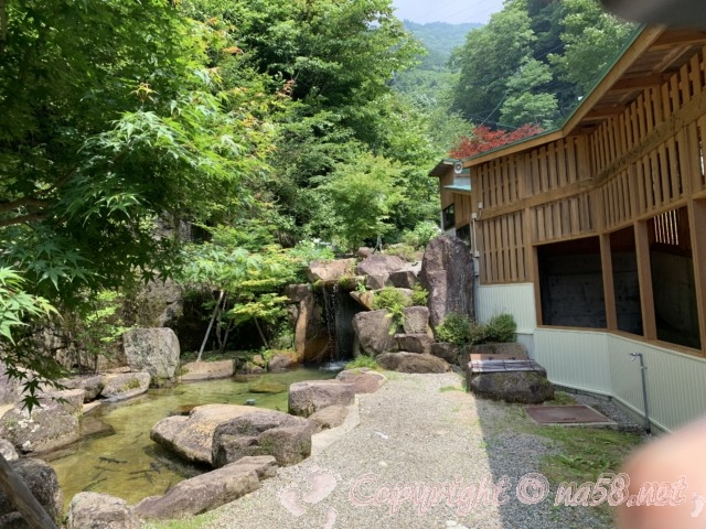 「飛騨大鍾乳洞」岐阜県高山市・帰り道の通路、脇に「岩魚」たちの楽園