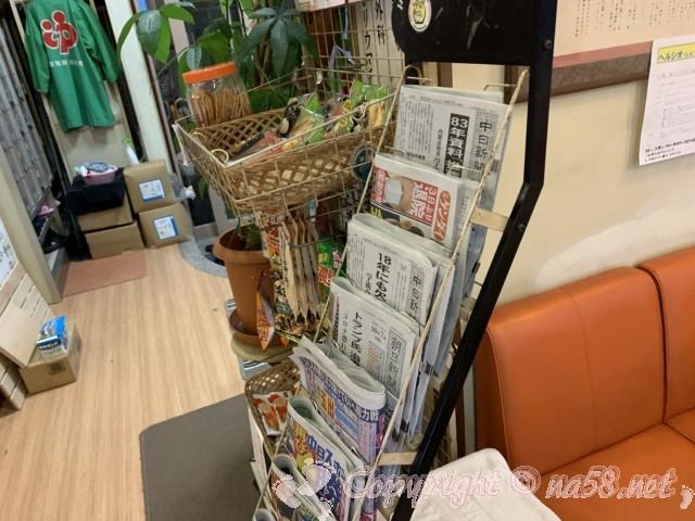 八千代湯(名古屋市西区上名古屋)待合室(休憩室)にある各種新聞とおつまみ