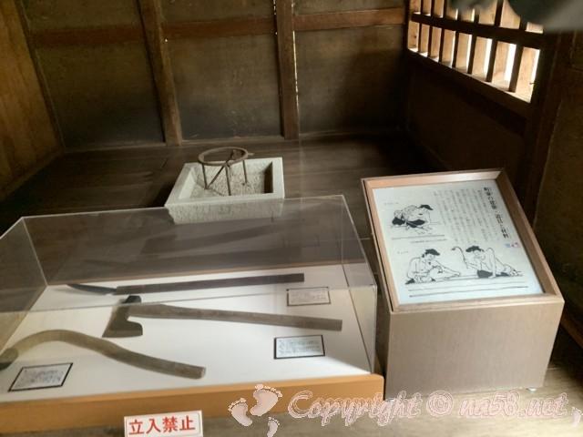 「一乗谷復原町並」(福井県福井市)町家の建築道具などの解説