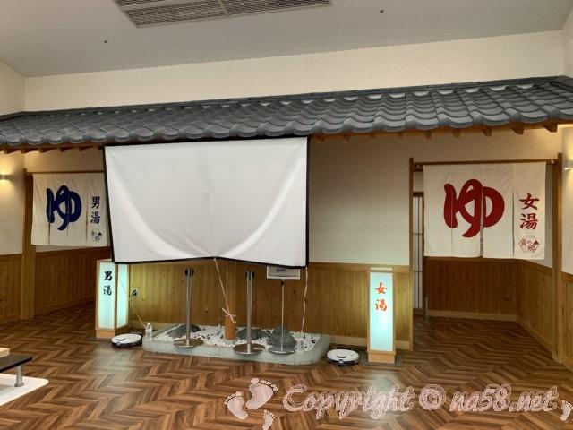 霞の郷温泉(福井県坂井市)の男湯女湯入り口