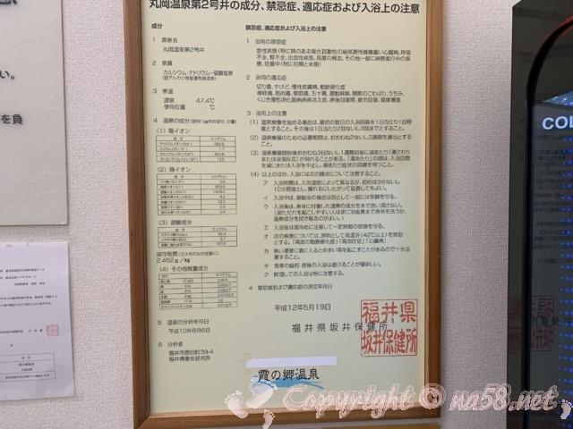 霞の郷温泉(福井県坂井市)の温泉成分表