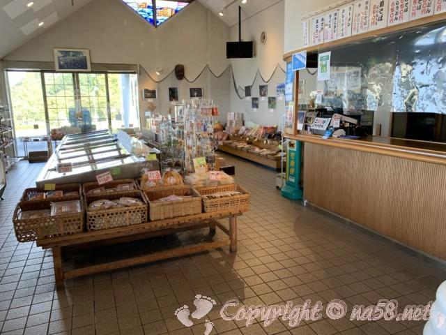 道の駅河野(福井県南越前町)物産館の中 軽食コーナー