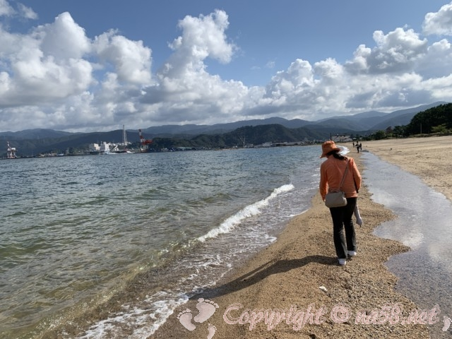気比の松原(福井県敦賀市)気比の松原の海岸、砂浜を散策