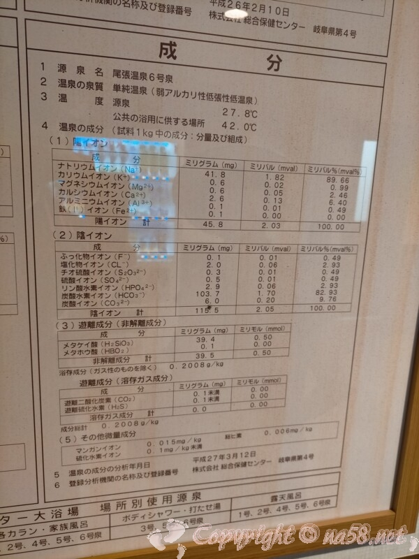 尾張温泉東海センター(蟹江町)6号泉 泉質
