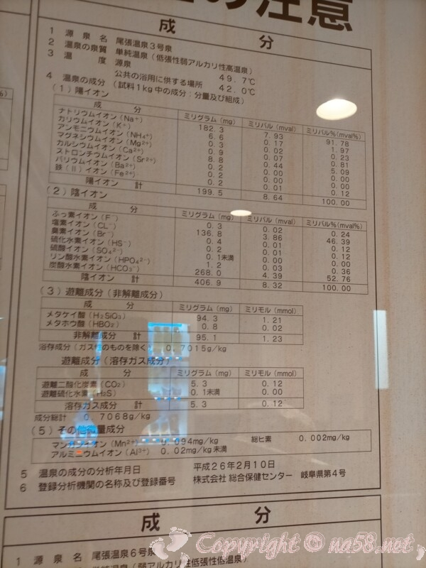 尾張温泉東海センター(蟹江町)3号泉 泉質