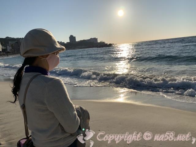 白良浜海水浴場(和歌山県白浜町)白良浜 夕陽