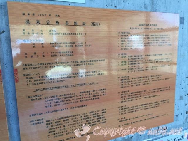 「道の駅 椿はなの湯」(和歌山県白浜町)温泉成分表・分析表