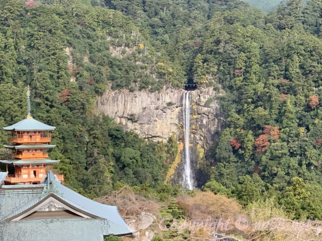 「青岸渡寺」の三重の塔(和歌山県那智勝浦町)から那智の滝の絶景が見える