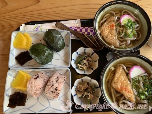 「道の駅 熊野・花の窟」(三重県熊野市)のランチ食事 イザナミ米のうどんとセット