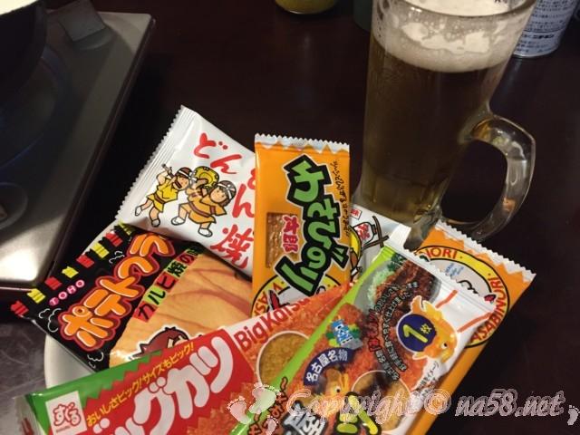 報徳湯(名古屋市北区)で買った駄菓子 ビールのおともに