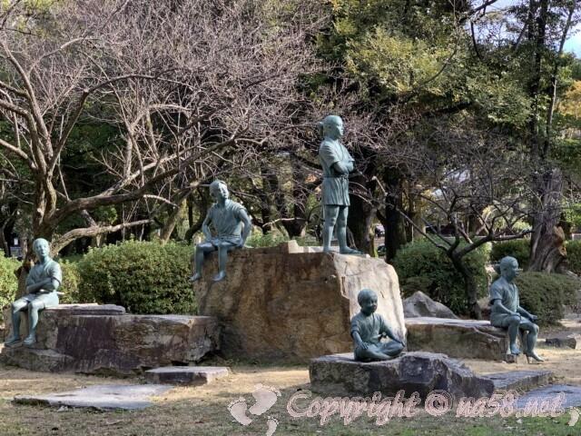 中村公園(名古屋市中村区)にある日吉丸となかまたちの像