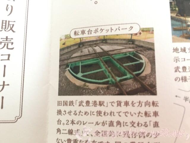 「まちの駅味の蔵たけとよ」の敷地の奥に 転車台(国の登録有形文化財)