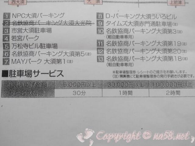 名古屋大須コメ兵(中区)コメ兵の契約駐車場 番号と名称対応