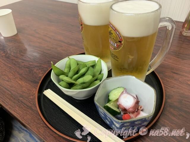 池田温泉本館 上田屋さんで生ビールとおつまみ2品
