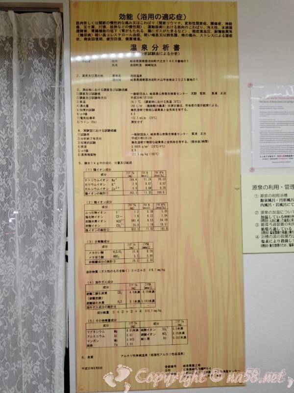 池田温泉 温泉分析書 平成30年