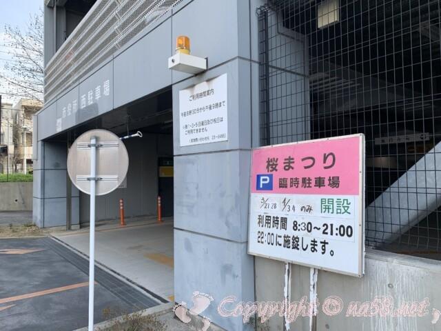 岡崎市役所西駐車場 桜まつり期間の開放について
