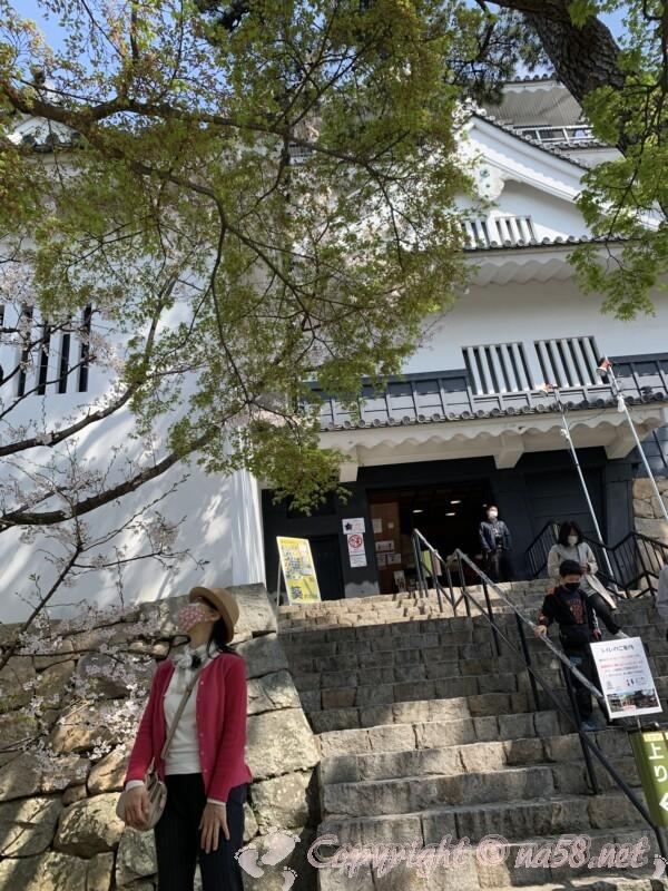 岡崎城 入り口と手前の階段付近