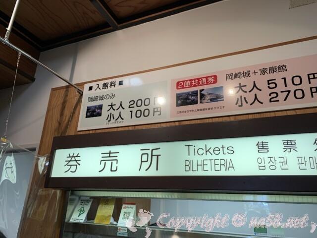 岡崎城の入場料 券売所
