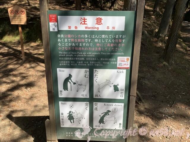 奈良公園内にあるシカ注意の看板