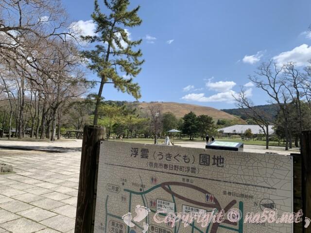 奈良公園から若草山を見る