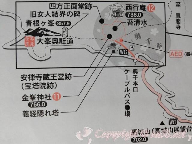 吉野山 奥千本口のバス停と金峯神社と西行庵地図