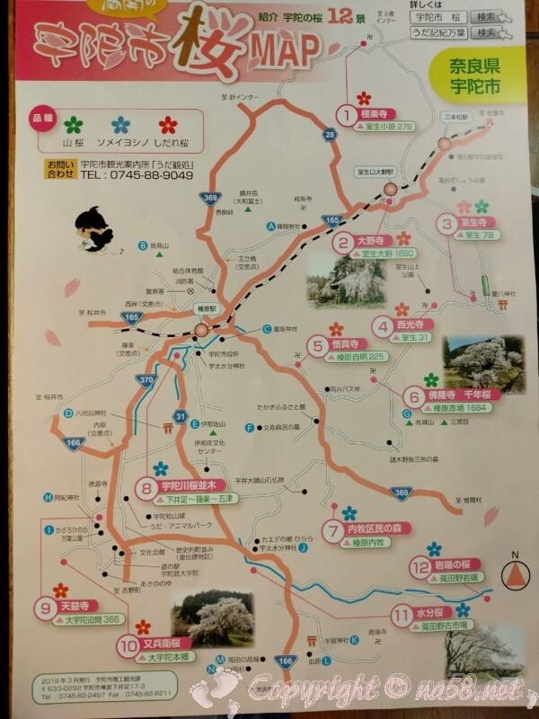 奈良県宇陀市の桜観光マップ