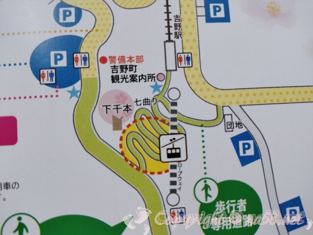 吉野山のロープウェイ 地図