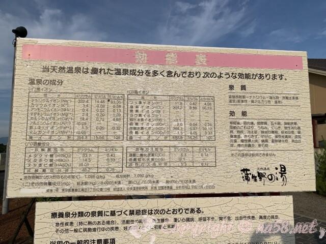 蒲生野の湯(滋賀県蒲生郡竜王町)の温泉成分表
