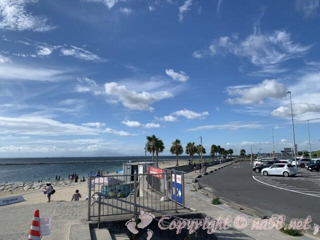 常滑りんくうビーチ(愛知県常滑市)・駐車場と海岸